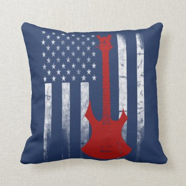 USA Themed Guitar Flag Throw Pillow