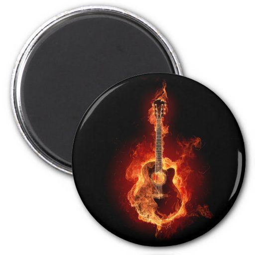 Guitar Flames 2 Inch Round Magnet