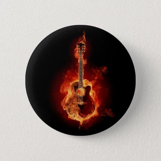 Guitar Flames Pinback Button