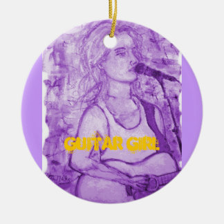 guitar girl art Double-Sided ceramic round christmas ornament