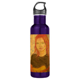 guitar girl art 24oz water bottle