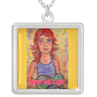 guitar girl art square pendant necklace