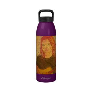 guitar girl art drinking bottles