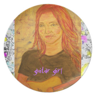 guitar girl drip painting plate