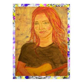 guitar girl drip painting postcard