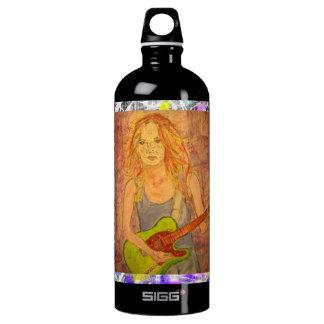 guitar girl paint drip water bottle
