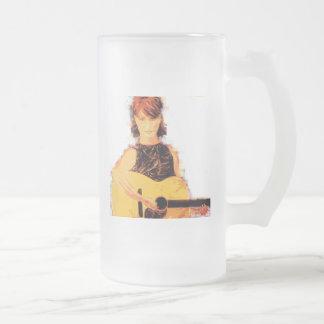 guitar girl playin' frosted glass beer mug