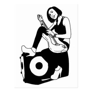 Guitar girl postcard