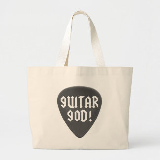 Guitar God with Pick Tote Bags