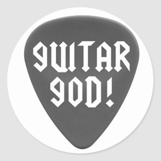Guitar God with Pick Classic Round Sticker