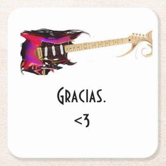 Guitar Gracias Square Paper Coaster