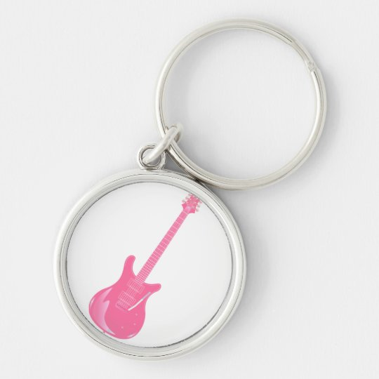 guitar graphic light pink solid keychain