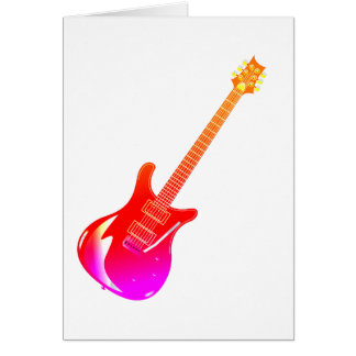 Guitar graphic yel pink red card