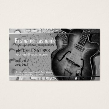 Professional Business GUITAR Grey Black Music Business card