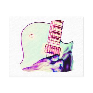 Guitar Hand Psychadelic Green Purple Pink Canvas Print