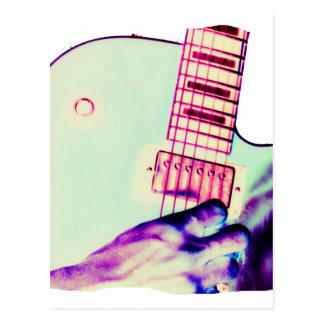 Guitar Hand Psychadelic Green Purple Pink Postcard