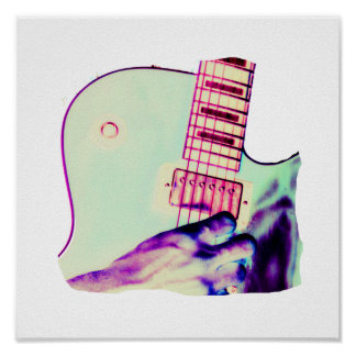 Guitar Hand Psychadelic Green Purple Pink Posters