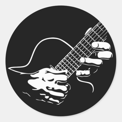 Guitar Hands II Classic Round Sticker