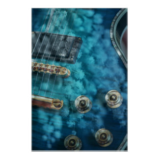 Guitar in Blue with Wattle Flowers Poster
