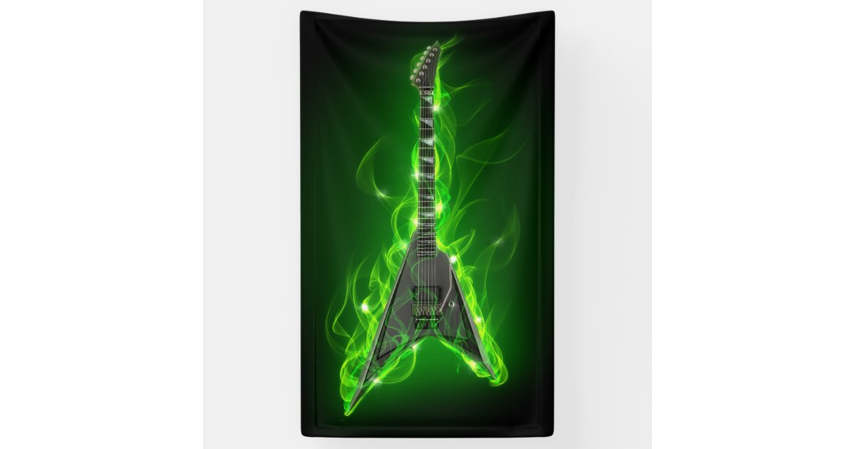 Guitar In Green Flames Banner Zazzle Com