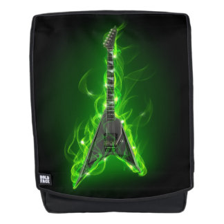 Guitar in Green Flames Boldface Backpack
