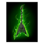 Guitar in Green Flames Poster