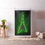 Guitar in Green Flames Tapestry Fabric