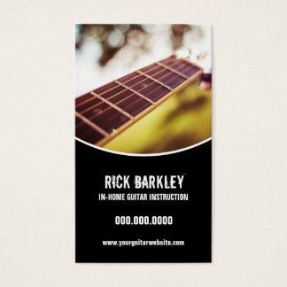 Guitar Instructor Curved Black Frame Business Card