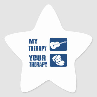 GUITAR is my therapy Star Sticker