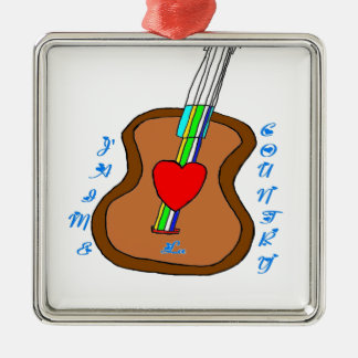 GUITAR J LIKES COUNTRY.png Metal Ornament