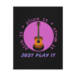 Guitar - Just Play It - Black background Stretched Canvas Print