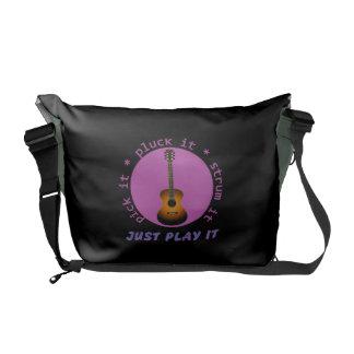Guitar - Just Play It - Black Background Messenger Bag