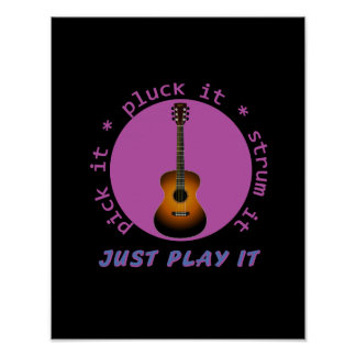 Guitar - Just Play It - Black background Print
