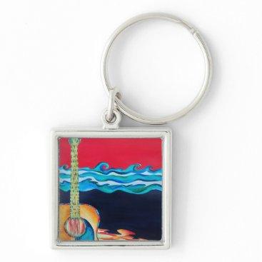 Beach Themed Guitar Keychain