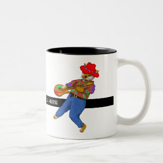 Guitar Kitty Cat Rocks Two-Tone Coffee Mug