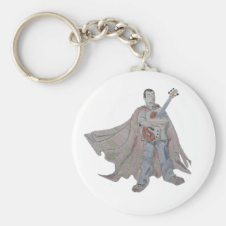 Guitar legend wearing a cape basic round button keychain