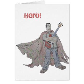 Guitar legend wearing a cape card