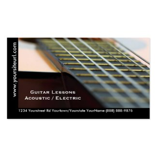Guitar Lessons - Music Teacher Acoustic Guitar Business Card Template