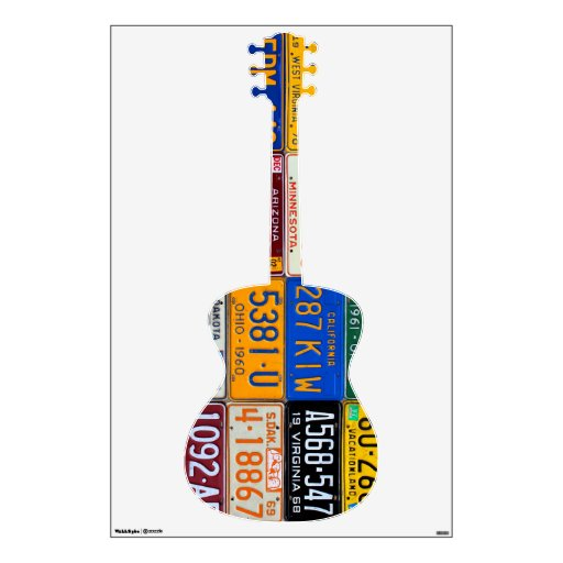 Guitar License Plate Art Vintage Recycled Decal Room Sticker