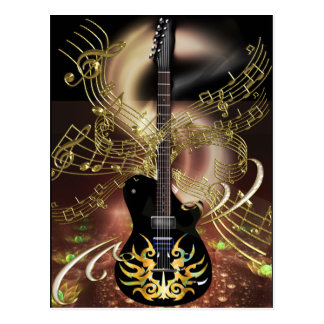 Guitar Magic Flames from Hell with Heavenly Notes Postcard