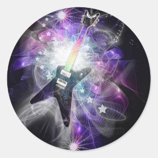 Guitar Magic Music Sticker Round Sticker