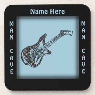Guitar Man Cave Name Drink Coaster