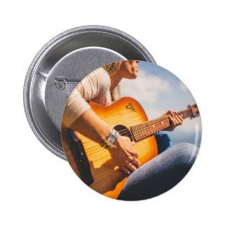 Guitar Man Music Flows Pinback Button