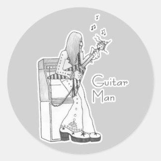 Guitar Man Classic Round Sticker