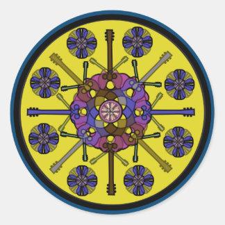 Guitar Mandala Classic Round Sticker