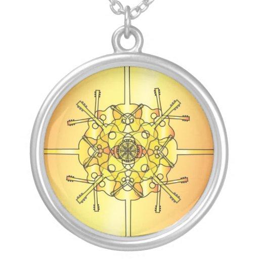 Guitar Mandala Round Pendant Necklace