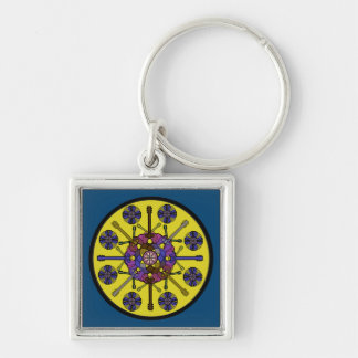 Guitar Mandala Silver-Colored Square Keychain
