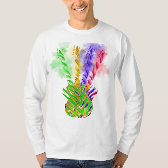 Guitar Music Abstract Colorful T-Shirt