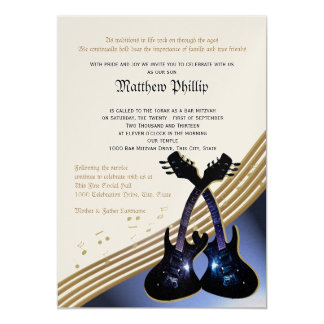 Guitar Music Bar Mitzvah Card