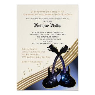 Guitar Music Bar Mitzvah 5x7 Paper Invitation Card